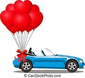 azul, coração, cabriolé, dado forma, car, hélio, caricatura, vermelho, balões
