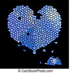 azul, coração, feito, pedras, vidro, precioso