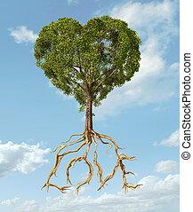 azul, coração, luz, macio, love., árvore, clouds., forma,...