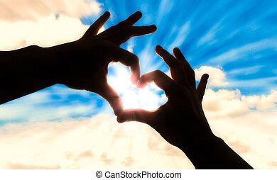 azul, coração, silueta, céu, forma, mãos
