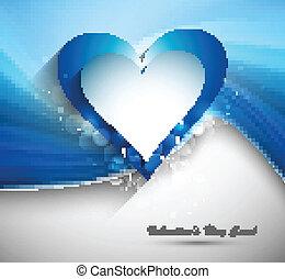 azul, coração, valentines, onda, vetorial, fundo, dia, cartão