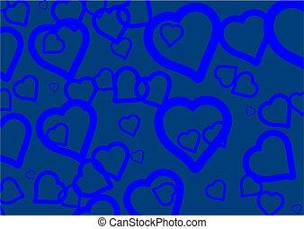 azul, corações