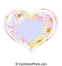 azul, corações, flores