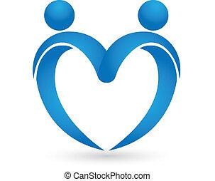 azul, corazón, amor, logotipo