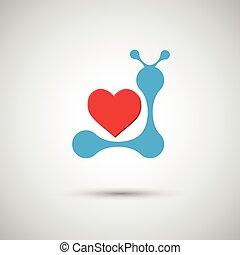 azul, corazón, blanco, vector, plano de fondo