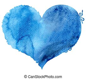 azul, corazón, borde, acuarela, encaje