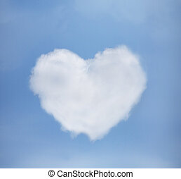 azul, corazón, cielo, nubes