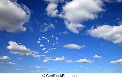 azul, corazón, cielo, nubes, formado