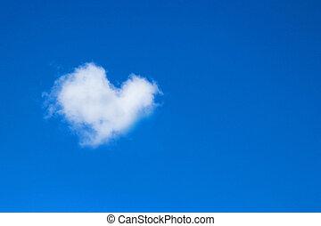 azul, corazón, concepto, nubes, formado, sky., amor