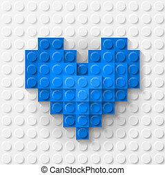 azul, corazón, construcción, hecho, kit