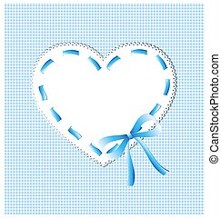 azul, corazón, costura
