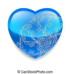azul, corazón, decoración, brillante
