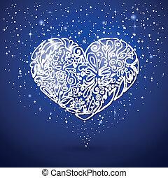 azul, corazón, fondo blanco