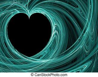 azul, corazón, fondos, cerceta