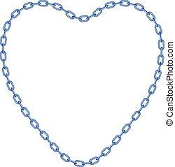 azul, corazón, forma, cadena