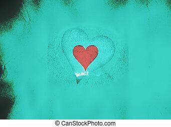 azul, corazón, grunge, luz, valentine, plano de fondo
