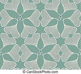 azul, corazón, hecho, encaje, formado, patrón, hojas, seamless, ginkgo