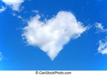 azul, corazón, hecho, nubes, cielo, forma