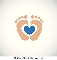 azul, corazón, huella, pies, bebé