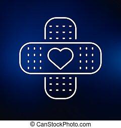 azul, corazón, icono, plano de fondo, ayuda