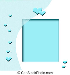 azul, corazón, marco