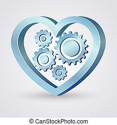 azul, corazón, mecánico