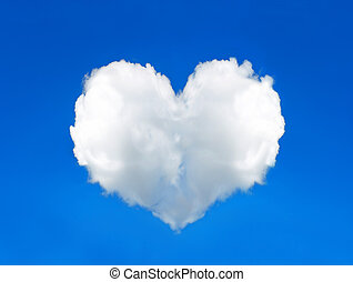 azul, corazón, nube de cielo, formado