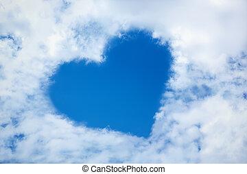 azul, corazón, nube de cielo