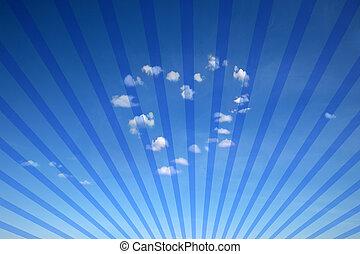 azul, corazón, rayos, nubes, formado, plano de fondo de sol