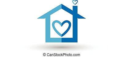 azul, corazón, vector, logotipo, casa