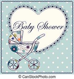 azul, corazón, vendimia, ducha, carruaje, bebé
