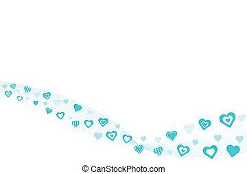 azul, corazones, plano de fondo