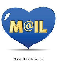 azul, correio, ícone