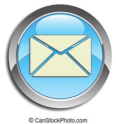 azul, correio, botão
