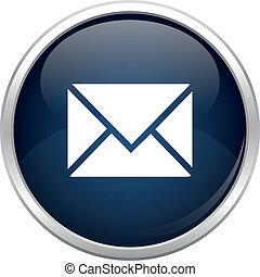 azul, correo, icono