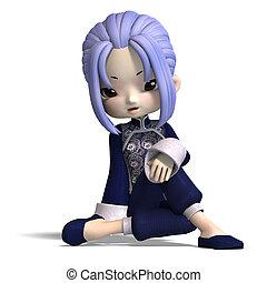 azul, cortando, figura, sobre, clothes., charming, escuro, fazendo, china, caminho, branca, sombra, caricatura, 3d