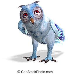 azul, cortando, owl.3d, fazendo, luz, sobre, fantasia, caminho, sombra, branca
