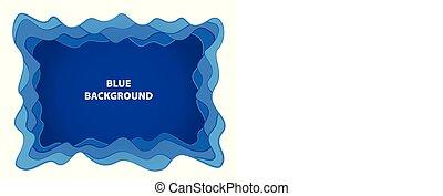 azul, corte, abstratos, formas, papel, fundo