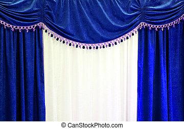azul, cortinas