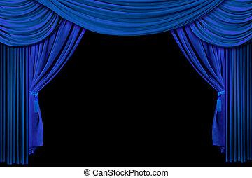 azul, cortinas, brillante, etapa
