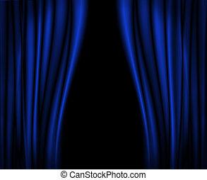 azul, cortinas, en, stage.