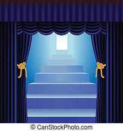 azul, cortinas, escadaria