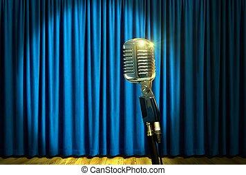 azul, cortinas, microfone, sobre, retro, fase