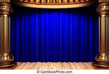 azul, cortinas, veludo, ouro, atrás de, colunas