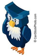 azul, coruja, pena, desenho, 3d