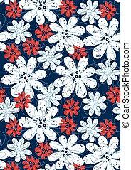 azul, costura, floral, flores blancas, rojo