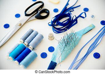 azul, costura, materiales