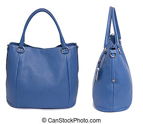 azul, couro, mulher, saco