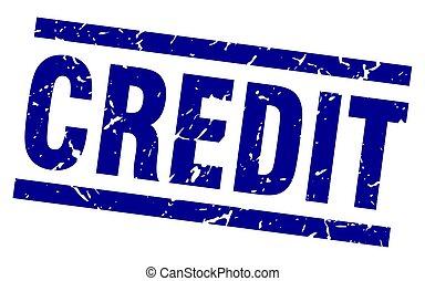 azul, crédito, quadrado, grunge, selo
