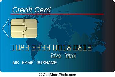 azul, credito, vector, tarjeta